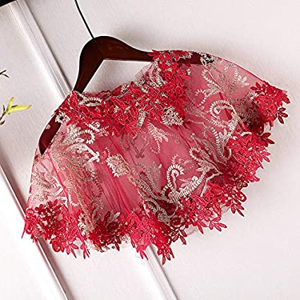 Lace Floral Cape Wedding Capelet Women Shawl Bridal Cover Up Wrap Bolero For Dress Party Red 1920S Bridal Cape Red Lace Wraps One Size 8Y