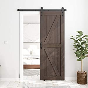 SMARTSTANDARD 30in x 84in Sliding Barn Door with 5ft Barn Door Hardware Kit & Handle, Pre-Drilled Ready to Assemble, DIY Unfinished Solid Spruce Wood Panelled Slab, K-Frame, Brown