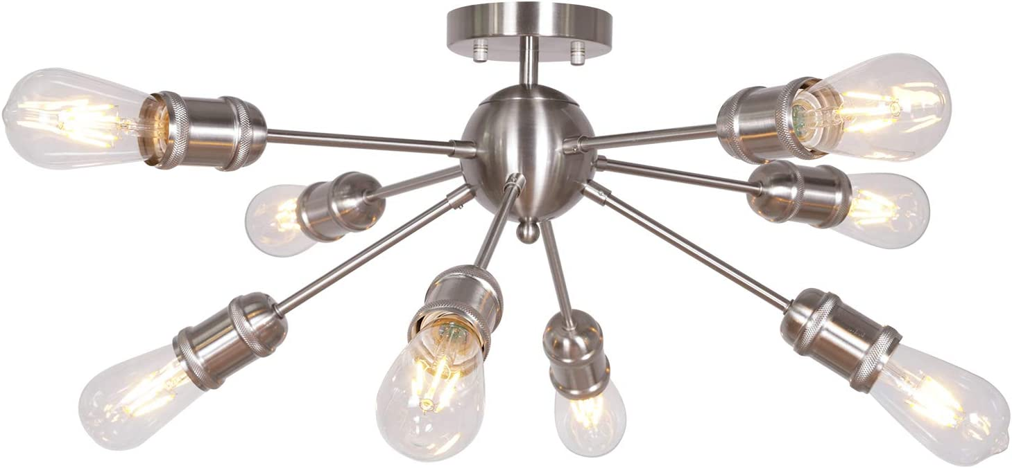 MELUCEE Sputnik Chandelier Brushed Nickel 8 Lights Semi Flush Mount Ceiling Light Mid Century Vintage Light Fixture with Netting Sockets