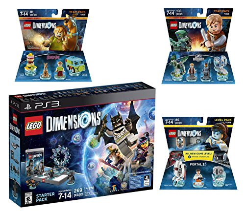 Lego Dimensions Starter Pack + Portal 2 Level Pack + Scooby Doo Team Pack + Jurassic World Team Pack for Playstation 3 PS3 Console by WB Lego