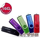 5 Pezzi 16GB Chiavetta ENUODA Pennetta Girevole USB 2.0 Unità Memoria Flash (5 Multicolorato: Nero Blu Verde Viola Rosso)