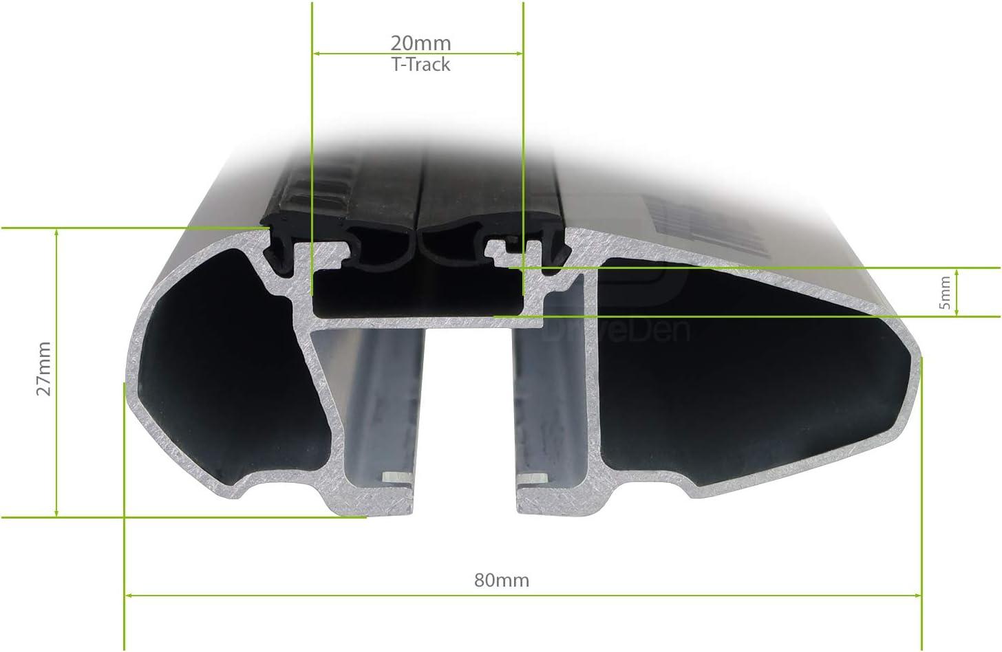 Thule TH-WBS-0945b WingBar Evo Silver Aero Aluminium Roof Bar Set Open Roof Rails