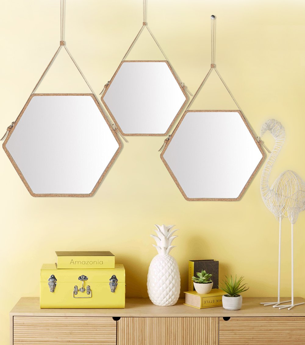 Amazon.com: Ms.Box Real Cork Decorative Hanging Wall Mirror with ...