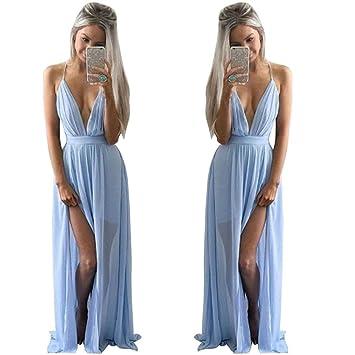 bcf0503f537f Amazon.com  Kstare Sexy Women Summer Chiffon Halter Sleeveless Boho Long  Maxi Evening Party Backless Beach Dress (S