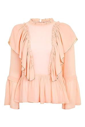 ebc7f604e7798 NEW WOMENS TOPSHOP NUDE GEORGETTE RUFFLE BLOUSE LONG SLEEVE CHIFFON SIZE 8  10 12 14 16 (12)  Amazon.co.uk  Clothing