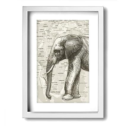 Amazon.com: Ale-art Modern Frame Bathroom Wall Art Gray Elephant Map ...