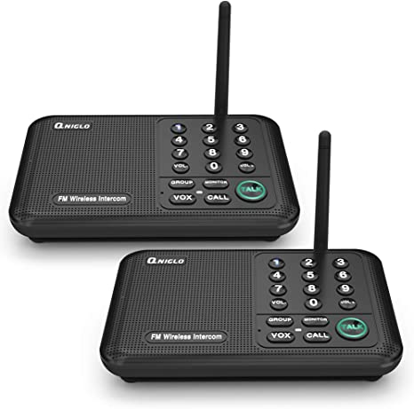 Qniglo - Sistema de intercomunicador inalámbrico de 10 Canales, Radio FM de Largo Alcance para el hogar, Oficina, Negocio (2 Estaciones, Negro): Amazon.es: Electrónica
