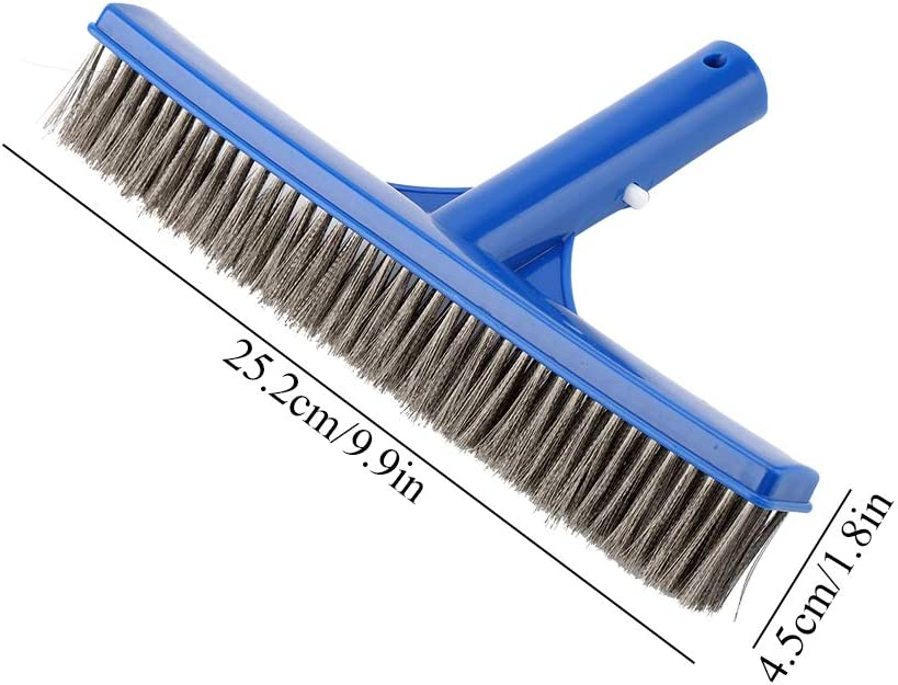 HelloCreate Steel Brush,10in Swimming Pool Steel Brush Bottom Walls Cleaning Supplies for Pond Spa Hot Spring