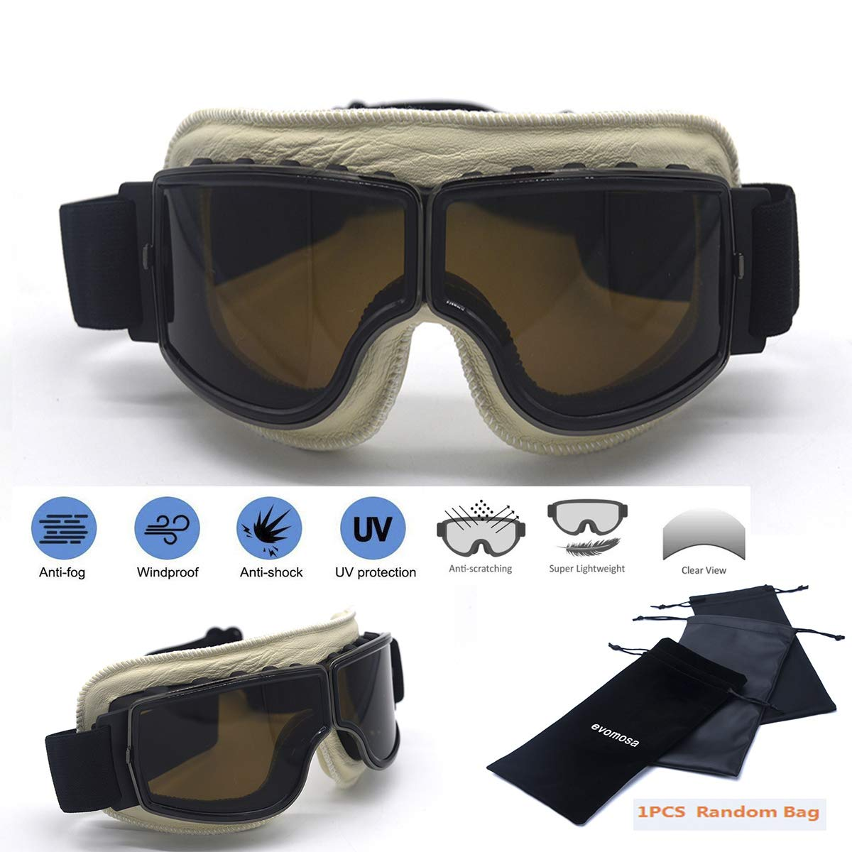 Motorcycle Glasses Sunglasses Padded Yellow Riding Anti Fog Biker goggle Moped