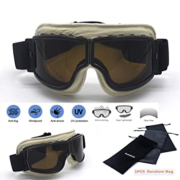 7267512c877f7 evomosa Motocross Motorcycle Riding Goggles ATV Dirt Off-Road Vintage  Scooter Pilot Helmet Goggle Skiing Men Women Adult  Amazon.co.uk  Car    Motorbike