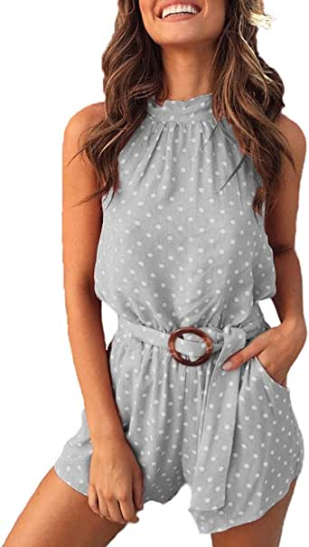 KYLEON Womens Jumpsuits Polka Dot Printing Sleeveless Girls Summer Casual Rompers Outfits Playsuit with Belt Pockets
