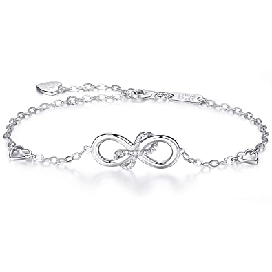 925er Sterling Silber Infinity Armband - Billie Bijoux Damen Endlose Liebe  Symbol Charm Herz Verstellbares Armband Weihnachtsgeschenk  Amazon.de   Schmuck 9683502dde