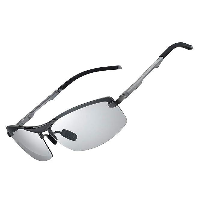WHCREAT Hombres Gafas de Sol Polarizadas Fotocromáticas de Conducción Para Marco de Metal Ultra liviano Al-Mg con Bisagras de Resorte