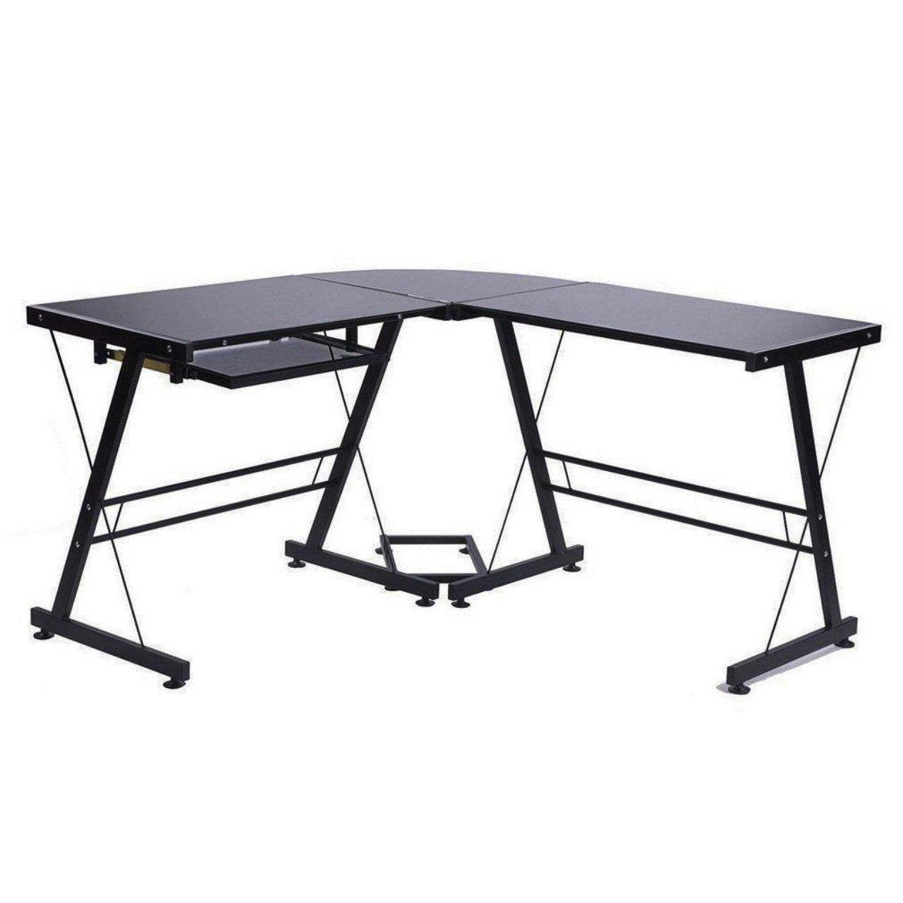 New Solid Stalinite Glass Top Computer Corner Desk PC Laptop Workstation Table Home Office Furniture/ Black #1044 by Koonlert@shop