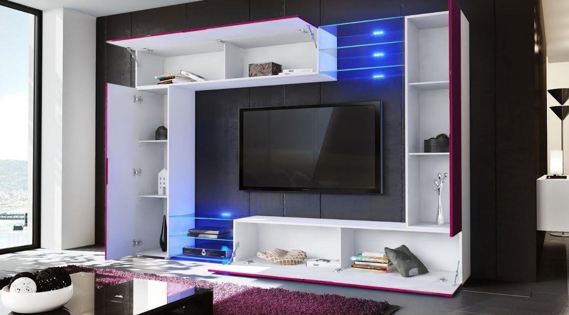 Pareti Soggiorno Bordeaux : Parete porta tv moderna modello wast finitura bordeaux lucido