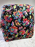 kitchenaid mixer cover blue - KitchenAid Mixer Cover, Black Tropical Floral & Aqua Oriental Paisley Design, Reversible Quilted, Kitchen Appliance Dust Cover, Size and Pocket Options
