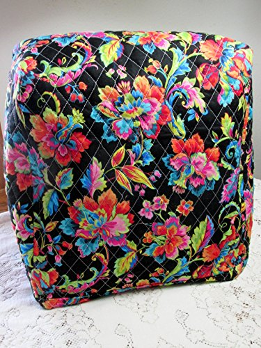 KitchenAid Mixer Cover, Black Tropical Floral & Aqua Oriental Paisley Design, Reversible Quilted, Kitchen Appliance Dust Cover, Size and Pocket Options