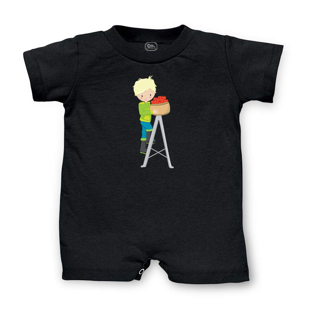 Apple Fun Boy Blonde Short Sleeve Taped Neck Boys-Girls Cotton Infant Romper