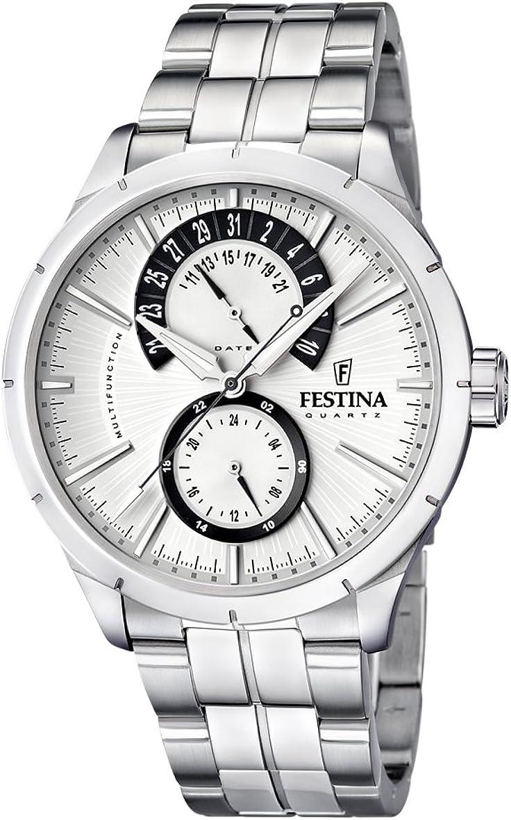Festina F16632/5 - Reloj analógico de Cuarzo para Hombre, Correa de Acero Inoxidable Color Plateado