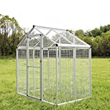 "Sliverylake 76.8"" H Large White Aluminum Heavy Duty Bird Cage Play Top Parrot Cockatiel Macare Parakeets Finch Walk In Aviary Pet House"