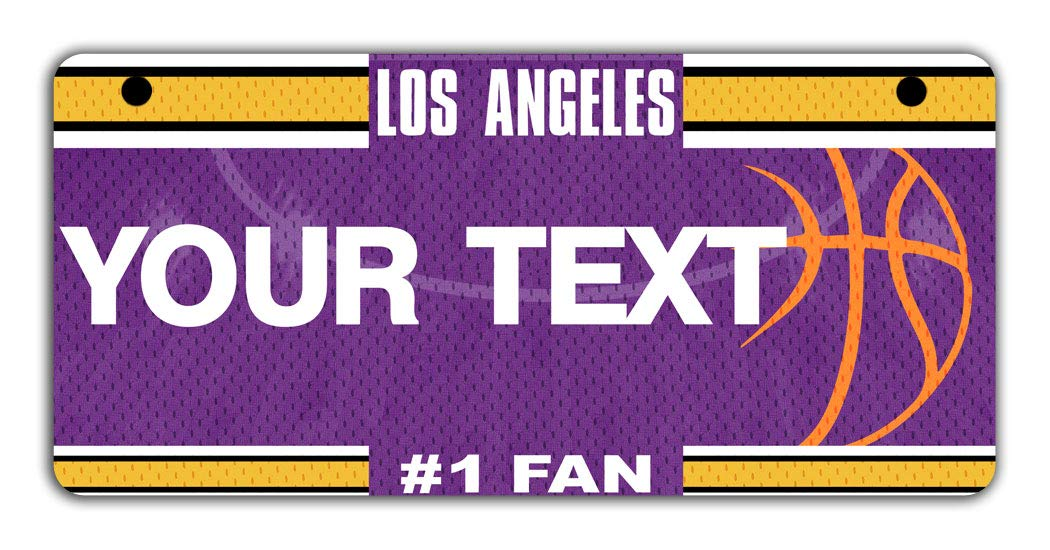 BRGiftShop Personalize Your Own Basketball Team Los Angeles Purple and Gold Bicycle Bike Stroller Childrens Toy Car 3x6 License Plate Tag