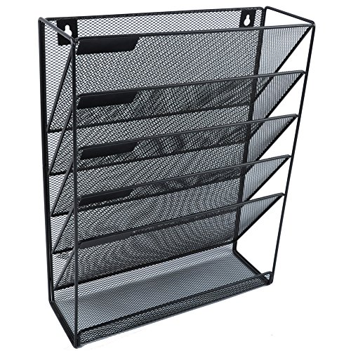 (Easepres File Organizer Mesh 5-Tier Black Hanging File Organizer Vertical Holder Rack for Office Home)