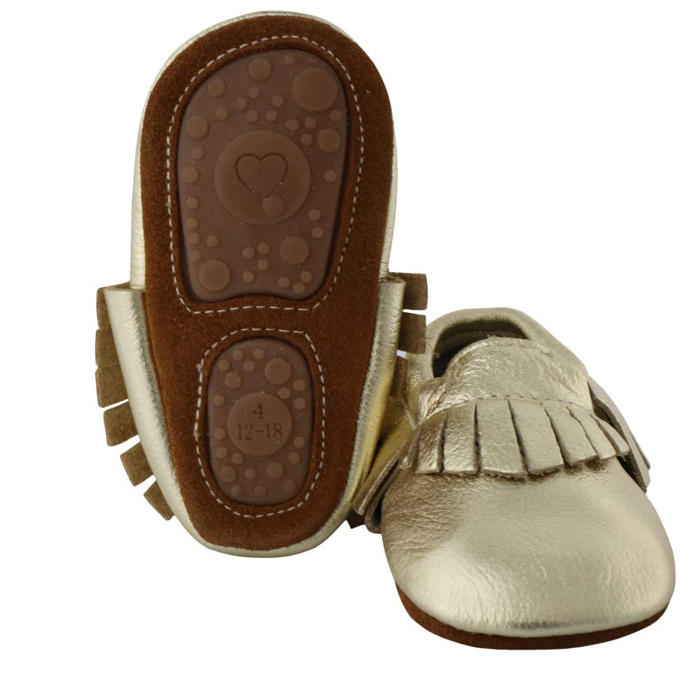 Muy Guay Baby Moccasins Genuine Leather Baby Shoes Unisex Infant Moccasins Shoes with Nonslip Rubber Sole for Toddler Boys Girls 0-24 Months