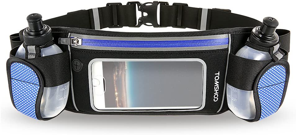 TOMSHOO Hydration Running Belt with 2 BPA-Free Water Bottles Touchscreen Zipper Pockets and Adjustable Straps Fit All Smartphones Holder Waist Belt for Outdoor Sport Marathon Running Cycling Jogging