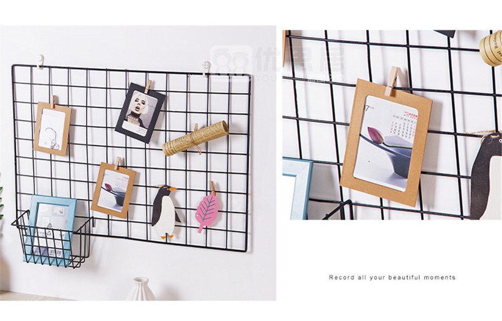 65 x 45cm,White ShouYu DIY Grid Photo Wall,Multifunction Wall Mounted Ins Mesh Display Panel,Wall Art Display Organizer,Memo Board