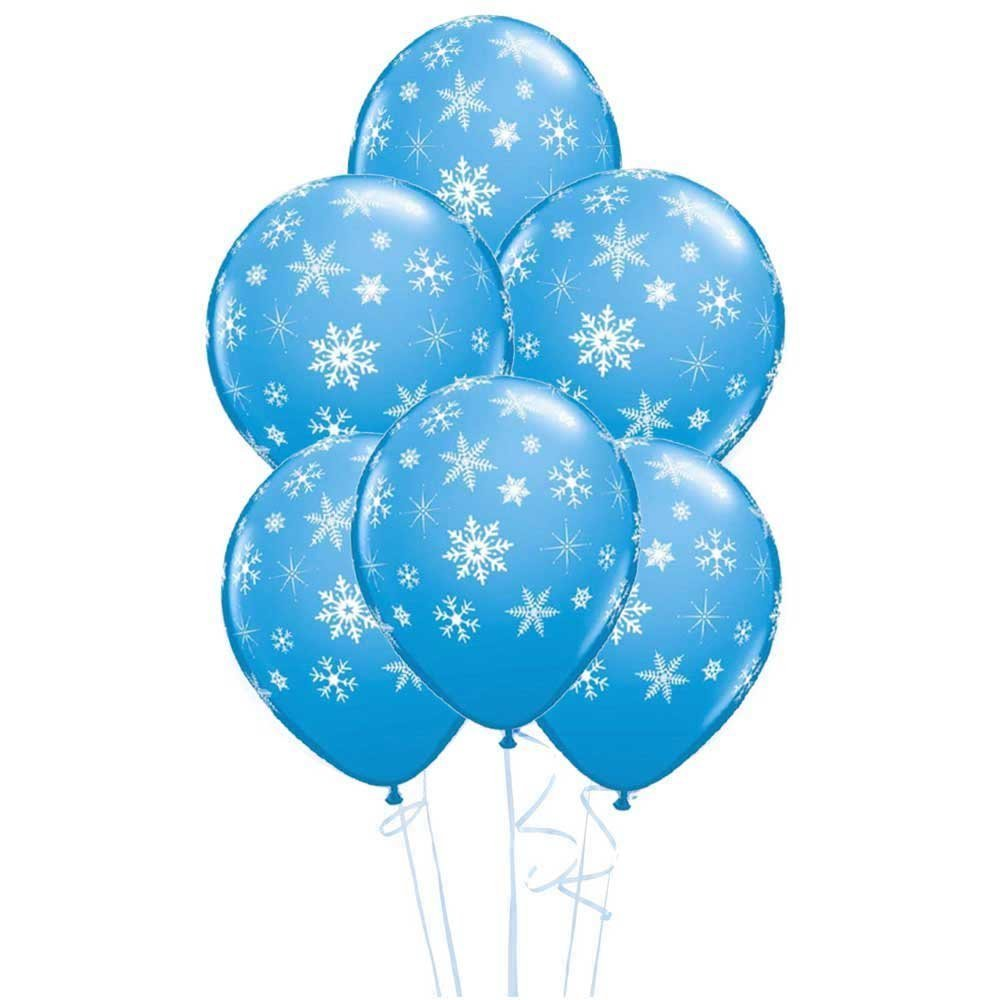 Snowflakes & Sparkles Robins Egg Blue 11' Qualatex Latex Balloons x 5