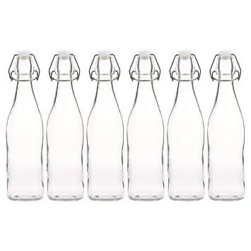 Juego de 6 botellas de cristal con cierre mecánico resellable, set para elaboración de cerveza