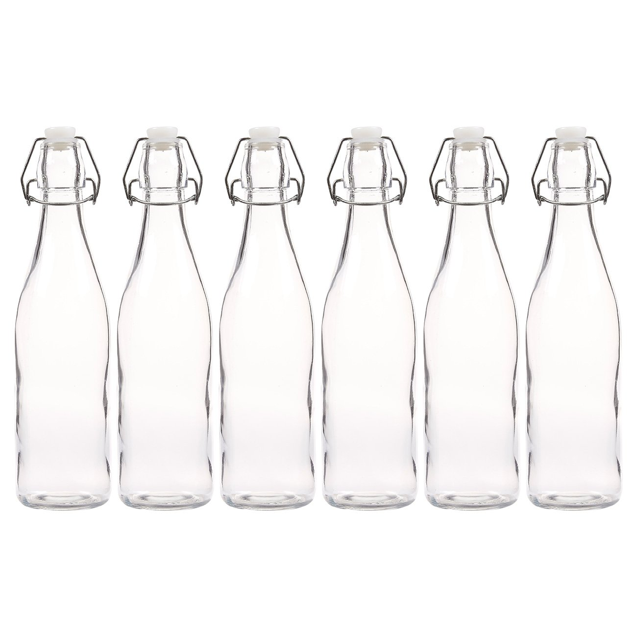 6-Pack Swing-Top Bottles - Resealable, Flip Top Glass Bottles Set for Home Brewing, Craft Beer Supplies, Clear - 16.9 Oz