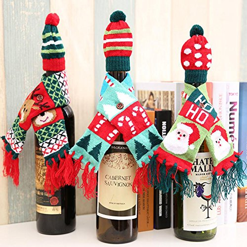 Festive Christmas Wine Bottle Covers