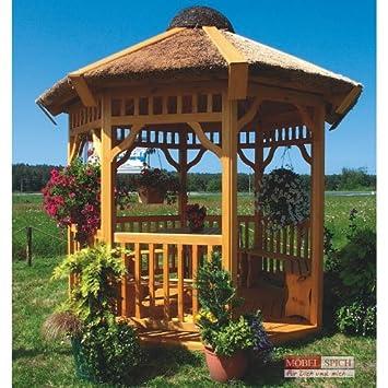 Amazon.de: Gartenpavillon ADELA Rund mit Reetdach Ø :250cm - 300cm ...