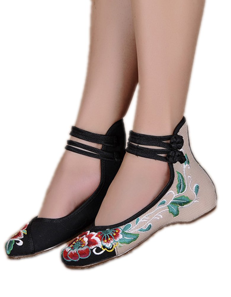 AvaCostume Womens Folk Style Shoes Rubber Sole Peony Embroidered Bride Flats, Black, 39