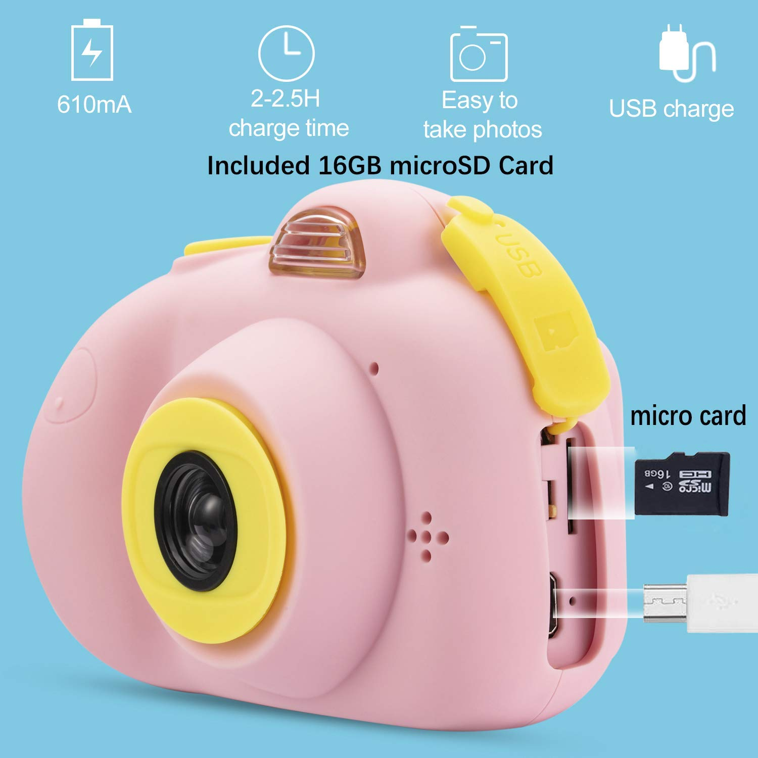 Kids Camera, Dual Cameras 8MP Rechargeable 1080p HD Kids Video Cameras Shockproof Kids Digital Cameras - Best Gift for 4-10 Years Old Girls Boys Party Outdoor Play 16GB TF Card Included (Pink) by Egoelife (Image #3)