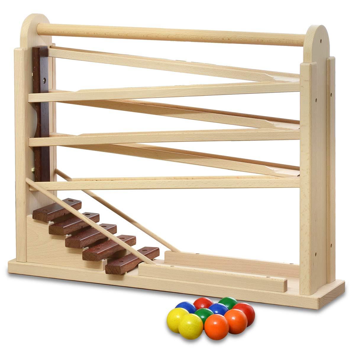 【日本製】 コロコロシロホン 木製 木琴 ボール10個付 天然木 木のおもちゃ 知育玩具 国産 男の子 女の子 幼児 子供 ナチュラル B07LGR5R59, 買付道-JJブランド専科- 2fa041c1