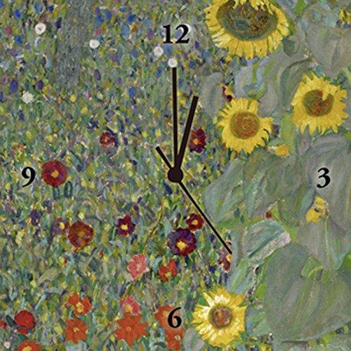 Artland Analoge Wand-Funk-oder Quarz-Uhr Digital-Druck Leinwand auf Holz-Rahmen gespannt mit Motiv Gustav Klimt Garten mit Sonnenblumen Botanik Blumenwiese Malerei Grün B5KY