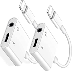 [2 Pack] Lightning to 3.5mm Adapter, iPhone 2 in 1 Charger and Aux Audio Splitter Adapter Compatible iPhone 12 11 XS XR X 8 8P7 7P iPad iPod Support iOS 14 System