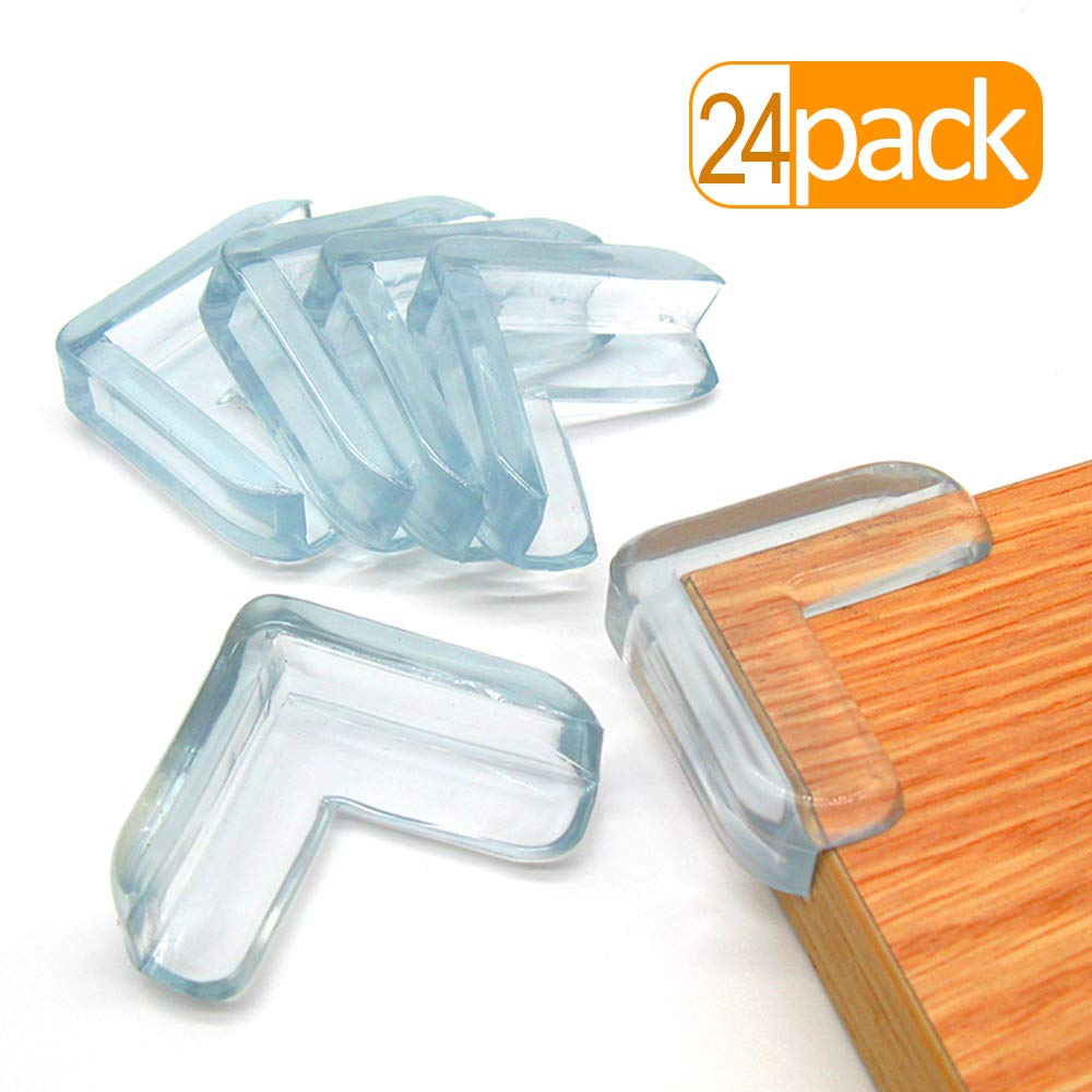 LOMILY-Baby Glass Table Corner Protector Clear,Corner Guards for Baby,Table Corner Guards Bumpers,High Resistant Adhesive Gel,Protector for Furniture and Glass Sharp Corners,Keep Baby Safe.(24 Pack)