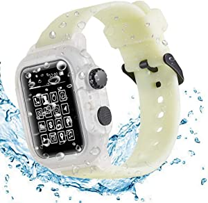 Compatible Apple Watch Series 6/SE/5/4 44mm Waterproof Case IP68 Full Sealed Shockproof Cover with Soft Silicone Sport Band Watchstrap Protector Cover for iwatch 6 5 4 44mm(Clear+Fluorescent)