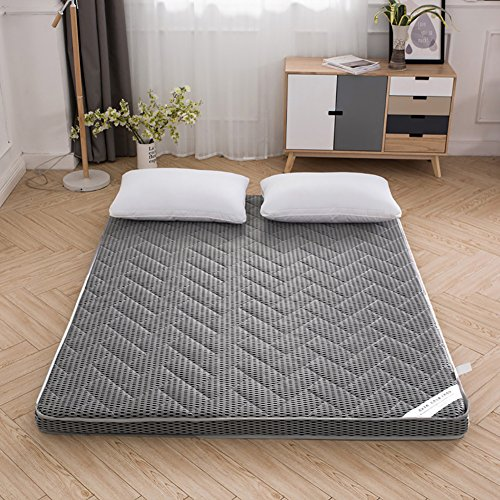 DULPLAY Foldable 6cm thickn Mattress beds,Matt mat Breathable Futon 4d Bamboo Charcoal Floor mats Bedroom Bed Pads -Gray 90x190cm(35x75inch)