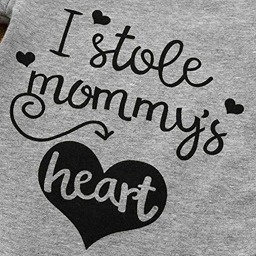 SWNONE Funny Newborn Infant Baby Girls Boys Mommy Heart Print Love Pattern Short Sleeve Bodysuit Romper Outfits Clothes (Gray, 0-6 Months)
