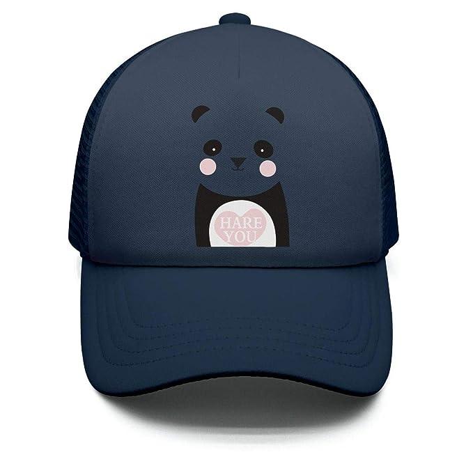 7640da37b22 Cute Panda Hug Heart Hare You Youth Sun Hat Adjustable Style Hat for Boys  Girls
