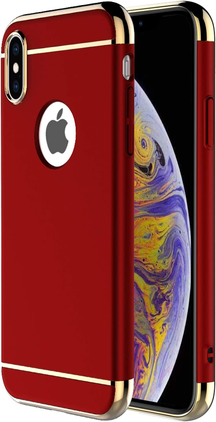 """iPhone Xs Max Case,RORSOU 3 in 1 Ultra Thin and Slim Hard Case Coated Non Slip Matte Surface with Electroplate Frame for Apple iPhone Xs Max (6.5"""")(2018) - Red and Gold"""
