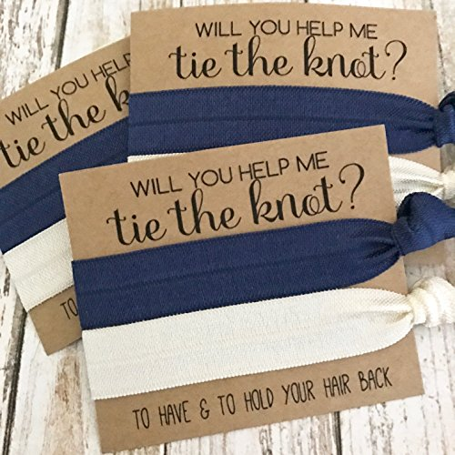 Set of 5 Bridesmaid Proposal | Will You Help Me Tie The Knot | Hair Tie Favors (Navy + Ivory)