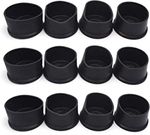 Antrader PVC Round Table Leg Tips(12 Pack)-Chair Furniture Feet Leg Pads Tile Floor Protectors, 2-3/8 Inches, Black