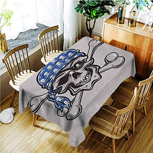 TT.HOME Water Resistant Table Cloth,Skull Scallywag Pirate Dead Head Grunge Horror Icon Evil Sailor Crossed Bones Kerchief,Fashions Rectangular,W50x80L,Blue Grey Black -