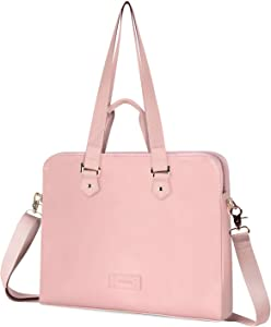 Kamlui 15.6 Inch Laptop Bag - for Women PU Waterproof Fashion Shoulder Messenger Computer Laptop Case (Pink)