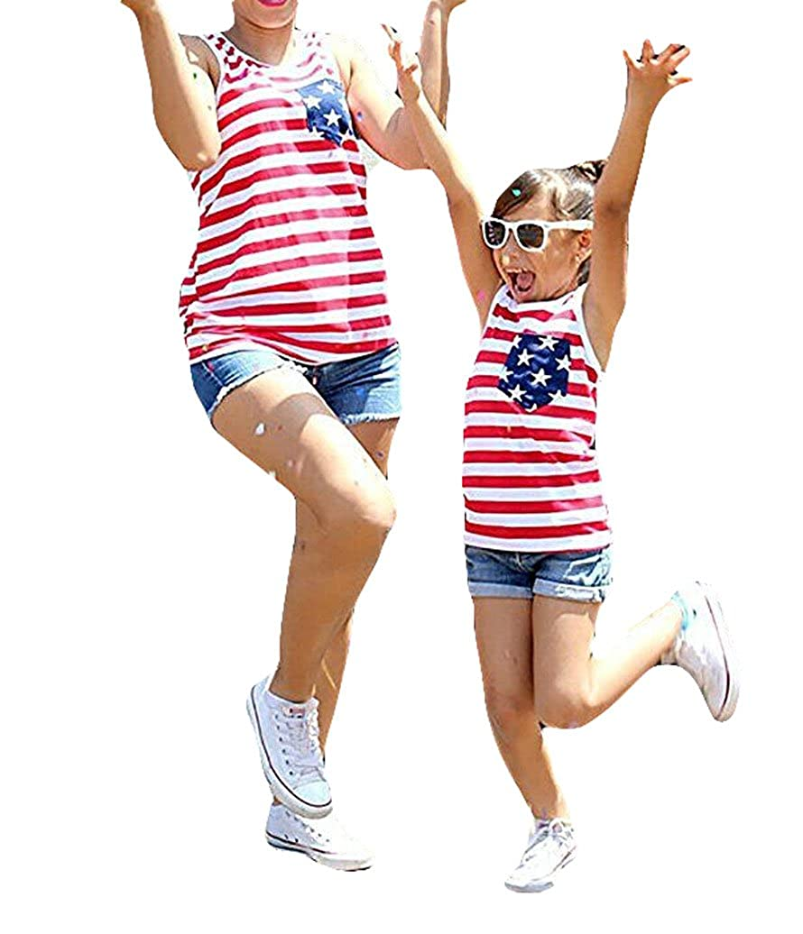 Gueuusu 4th of July Mommy and Me American Flag Striped Stars Tank Tops Cami Vest Sleeveless Shirts